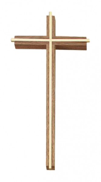 "Slim Line Wall Cross in Walnut with Gold-Plated Inlay 12"" - Brown"