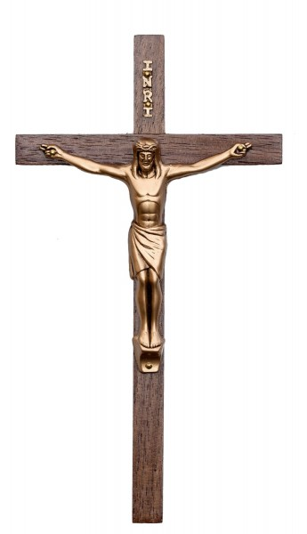 "Slim Line Walnut Wall Crucifix with 3 Inch Antique Gold Finish Corpus 7"" - Brown"