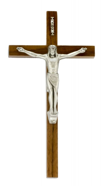"Slim Line Walnut Wall Crucifix with 3 Inch Antique Pewter Finish Corpus 7"" - Brown"