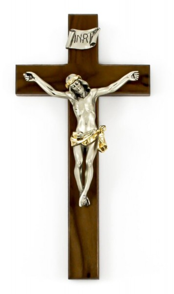 "Slim Line Walnut Wall Crucifix with Traditional Antique Gold Finish Corpus 12"" - Brown"