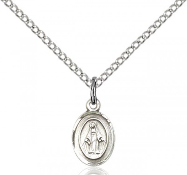 Baby Child Size Miraculous Medal Necklace - Sterling Silver