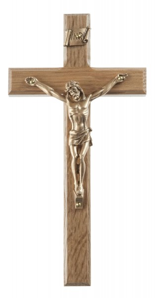 "Small Oak Wood Wall Crucifix with Beveled Edges and Gold Finish Corpus 6.25"" - Brown"