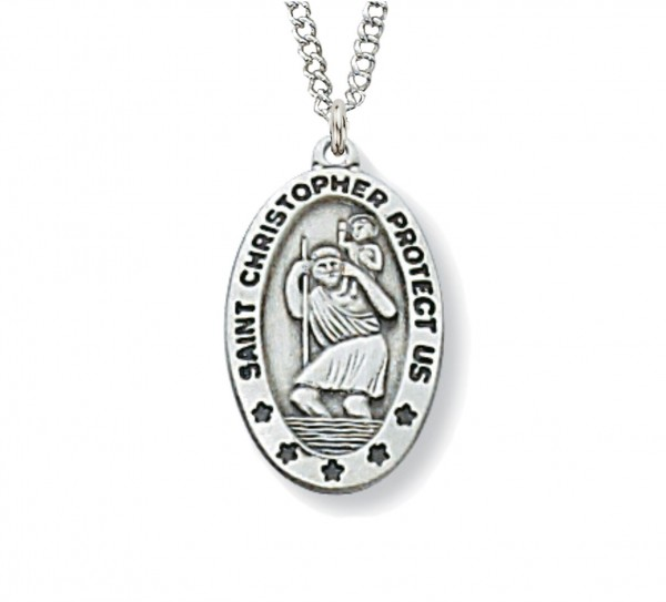 Women's Small Oval St. Christopher Medal - Silver