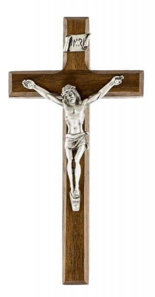 "Small Walnut Wall Crucifix with Beveled Edges and Pewter Corpus 6.25"" - Brown"
