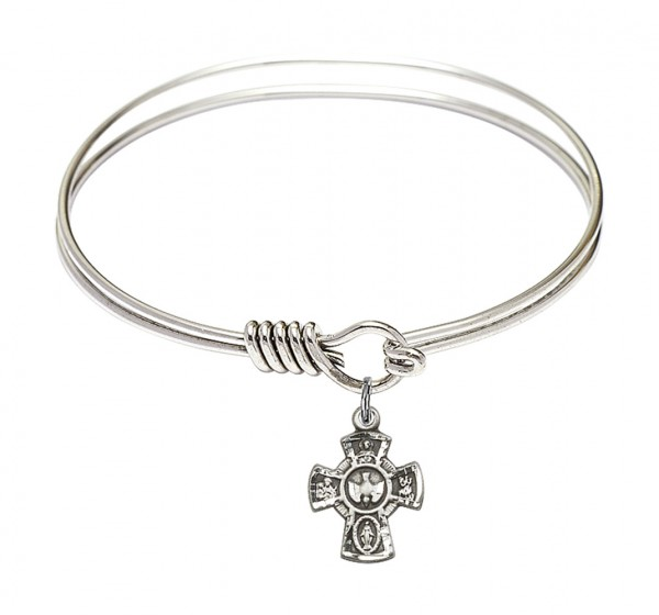 Smooth Bangle Bracelet with a 5-Way Charm - Silver