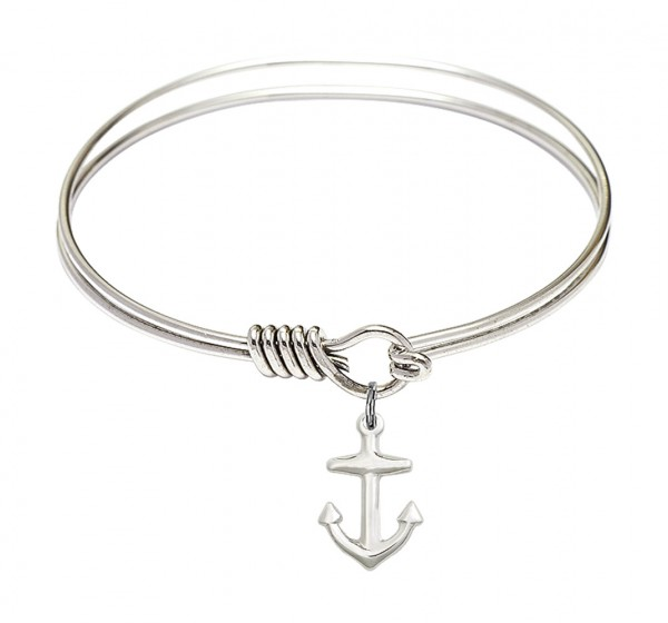 Smooth Bangle Bracelet with a Anchor Charm - Silver
