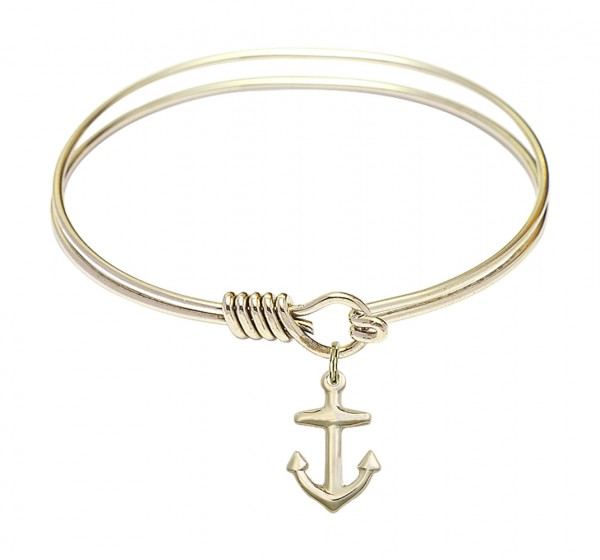 Smooth Bangle Bracelet with a Anchor Charm - Gold