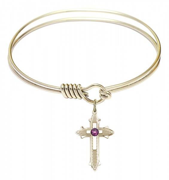 Smooth Bangle Bracelet with a Birthstone Cross on Cross Charm - Amethyst
