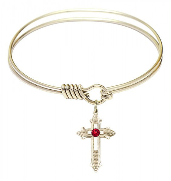 Smooth Bangle Bracelet with a Birthstone Cross on Cross Charm - Ruby Red