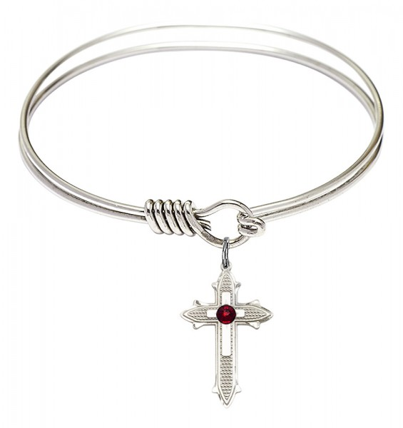 Smooth Bangle Bracelet with a Birthstone Cross on Cross Charm - Garnet