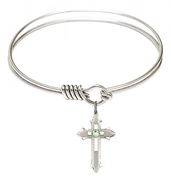 Smooth Bangle Bracelet with a Birthstone Cross on Cross Charm - Peridot