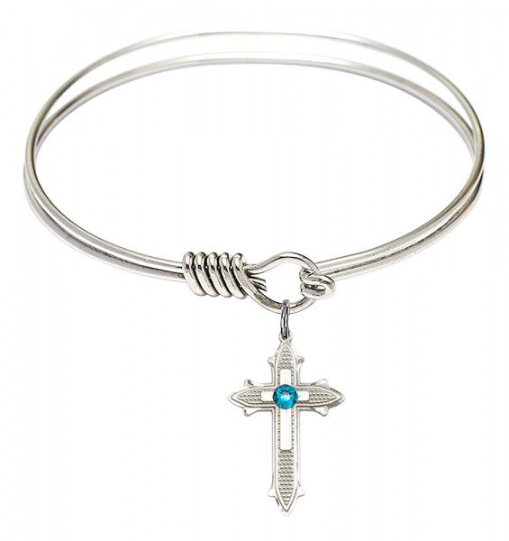 Smooth Bangle Bracelet with a Birthstone Cross on Cross Charm - Zircon