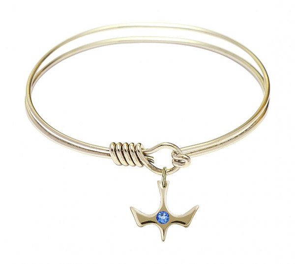 Smooth Bangle Bracelet with a Birthstone Holy Spirit Charm - Sapphire