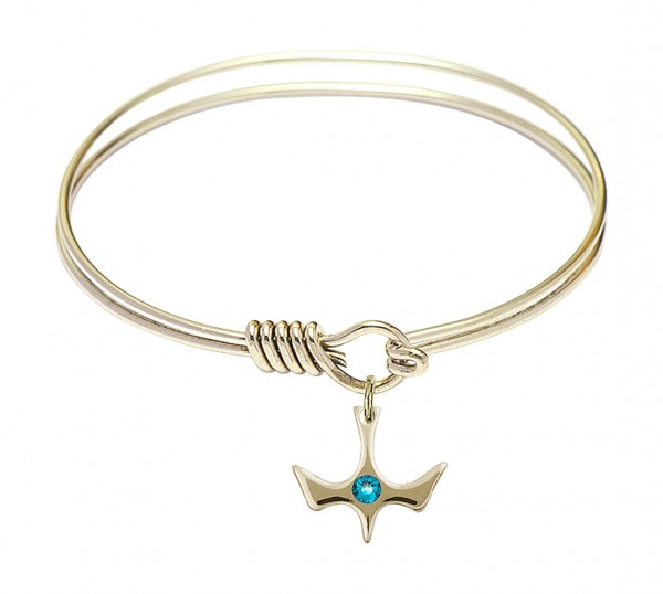 Smooth Bangle Bracelet with a Birthstone Holy Spirit Charm - Zircon