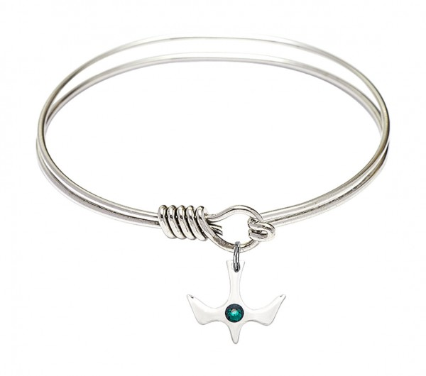 Smooth Bangle Bracelet with Birthstone Holy Spirit Charm - Emerald Green