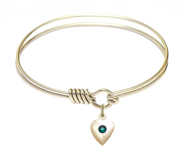 Smooth Bangle Bracelet with a Birthstone Puff Heart Charm - Emerald Green
