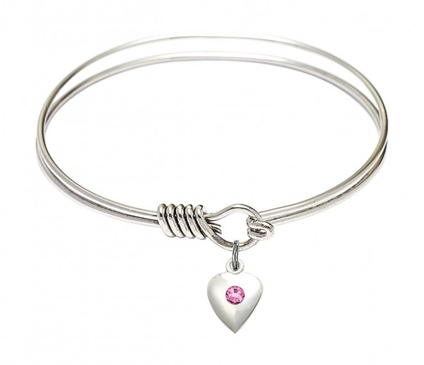 Smooth Bangle Bracelet with a Birthstone Puff Heart Charm - Rose