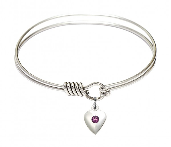 Smooth Bangle Bracelet with a Birthstone Puff Heart Charm - Amethyst