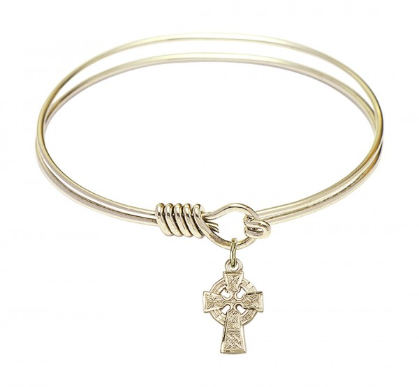 Smooth Bangle Bracelet with a Celtic Cross Charm - Gold