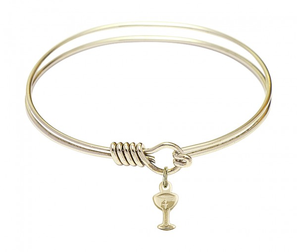 Smooth Bangle Bracelet with a Chalice Charm - Gold