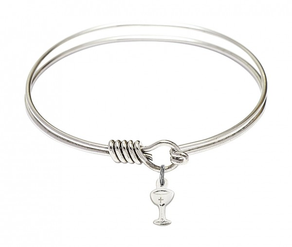 Smooth Bangle Bracelet with a Chalice Charm - Silver