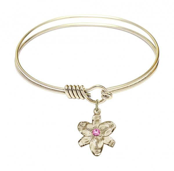 Smooth Bangle Bracelet with a Chastity Charm - Rose