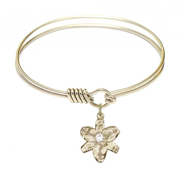 Smooth Bangle Bracelet with a Chastity Charm - Crystal
