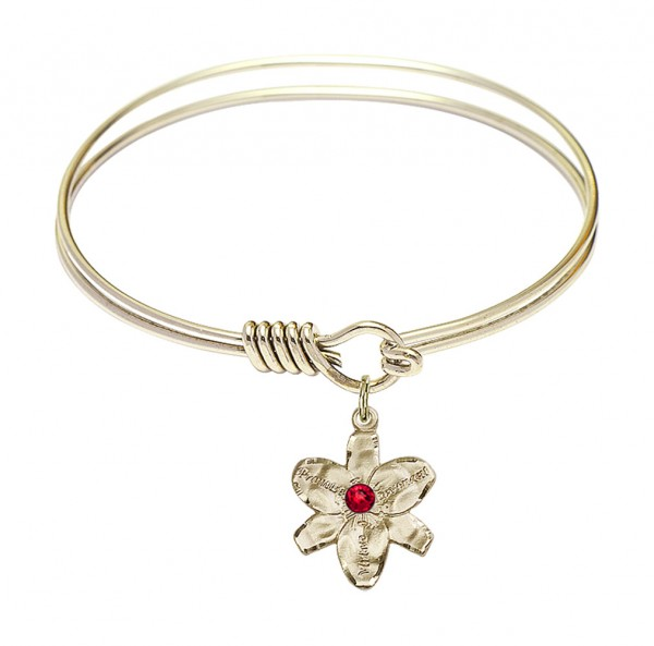 Smooth Bangle Bracelet with a Chastity Charm - Ruby Red