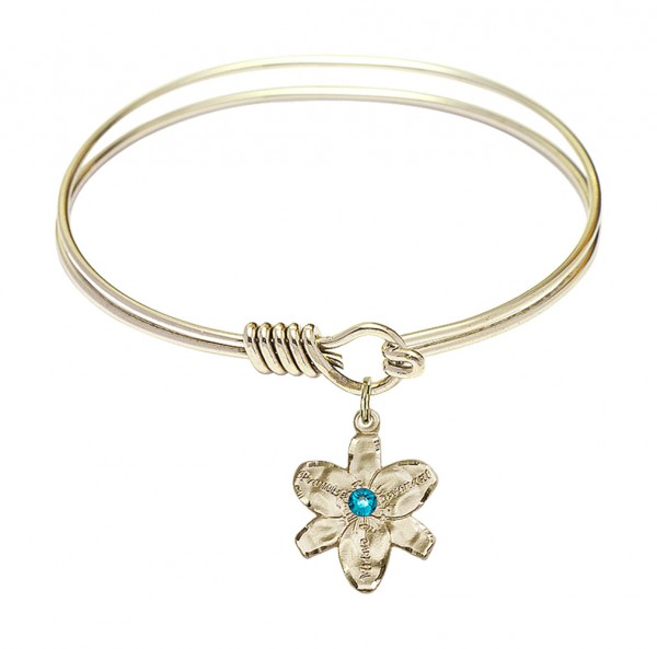 Smooth Bangle Bracelet with a Chastity Charm - Zircon