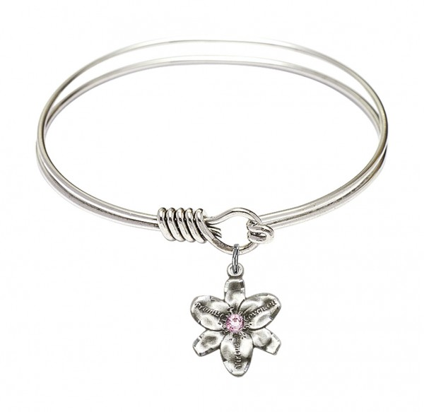 Smooth Bangle Bracelet with a Chastity Charm - Light Amethyst