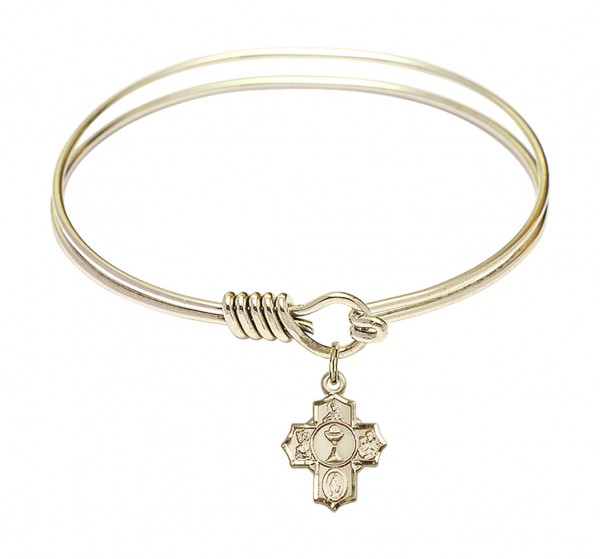 Smooth Bangle Bracelet with a Communion 5-Way Charm - Gold
