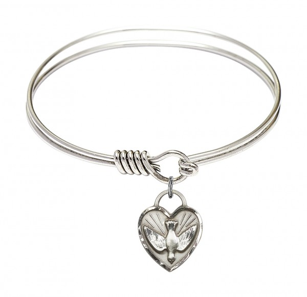 Smooth Bangle Bracelet with a Confirmation Dove Heart Charm - Silver