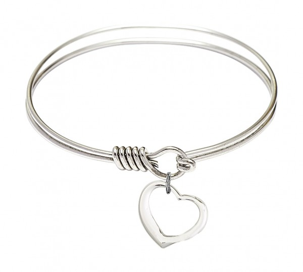 Smooth Bangle Bracelet with a Contemporary Open Heart Charm - Silver