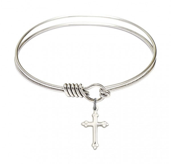 Smooth Bangle Bracelet with a Cross Charm Charm - Silver