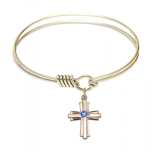 Smooth Bangle Bracelet with a Cross Charm - Sapphire