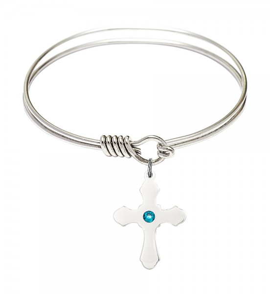 Smooth Bangle Bracelet with a Cross Charm - Zircon