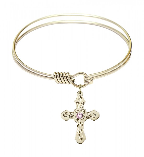 Smooth Bangle Bracelet with a Cross Charm - Light Amethyst