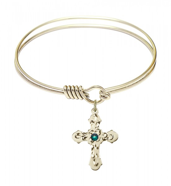 Smooth Bangle Bracelet with a Cross Charm - Emerald Green