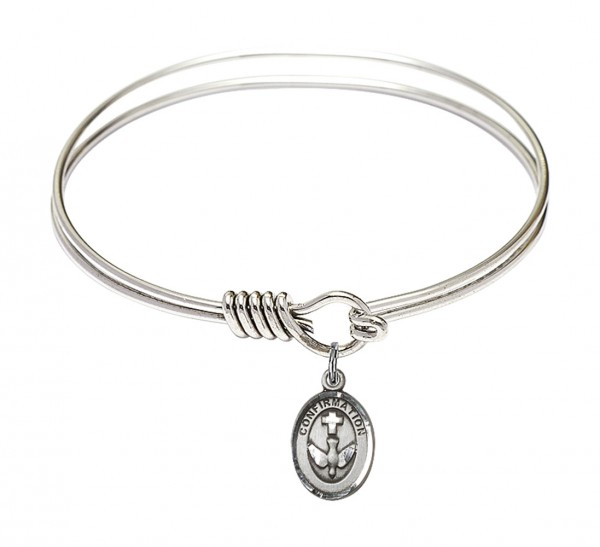 Smooth Bangle Bracelet with a Cross Dove Confirmation Charm - Silver