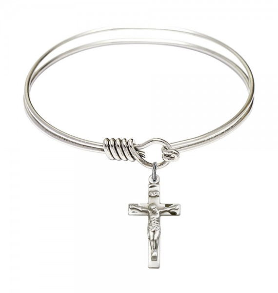 Smooth Bangle Bracelet with a Crucifix Charm - Silver