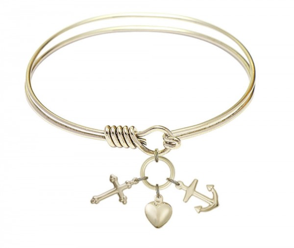 Smooth Bangle Bracelet with a Faith, Hope & Charity Charm - Gold
