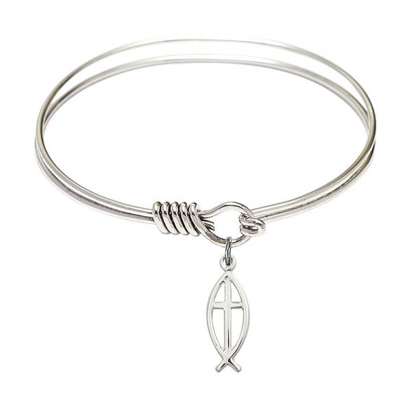 Smooth Bangle Bracelet with a Fish Cross Charm - Silver