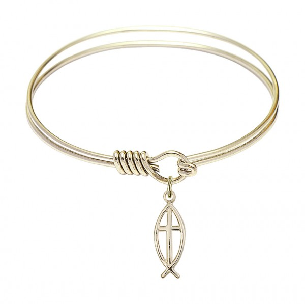 Smooth Bangle Bracelet with a Fish Cross Charm - Gold