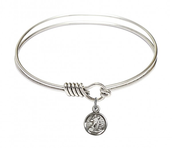 Smooth Bangle Bracelet with a Guardian Angel Charm - Silver