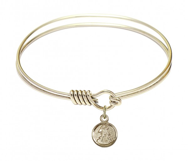 Smooth Bangle Bracelet with a Guardian Angel Charm - Gold