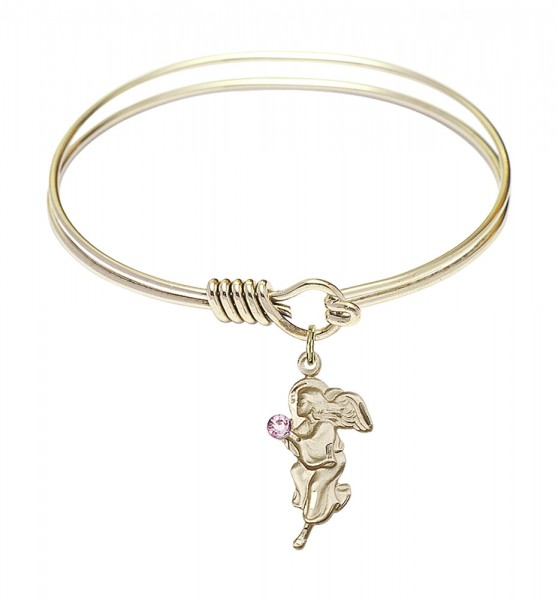 Smooth Bangle Bracelet with a Guardian Angel Charm - Light Amethyst