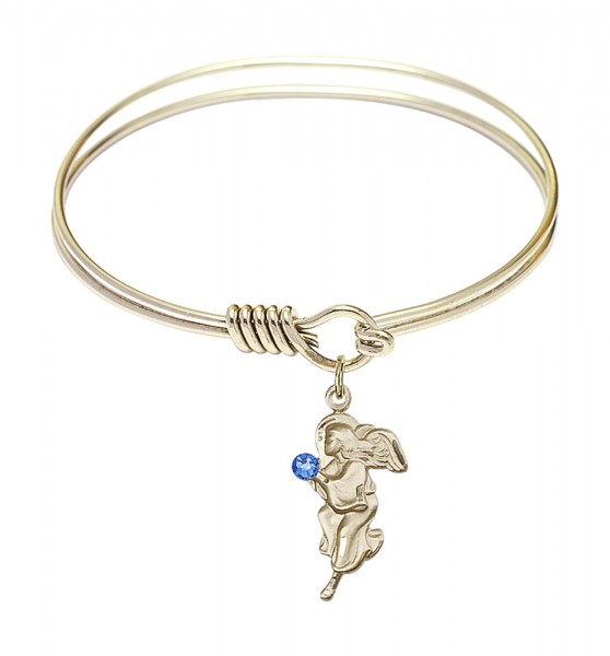 Smooth Bangle Bracelet with a Guardian Angel Charm - Sapphire