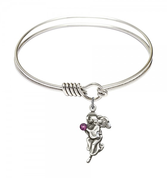 Smooth Bangle Bracelet with a Guardian Angel Charm - Amethyst