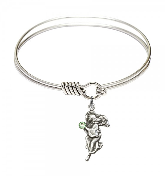 Smooth Bangle Bracelet with a Guardian Angel Charm - Peridot
