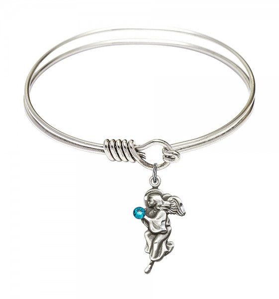 Smooth Bangle Bracelet with a Guardian Angel Charm - Zircon